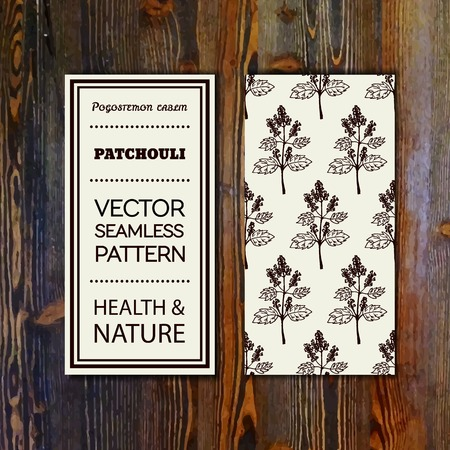 insect repellent: Health and Nature Collection. Banner template with herbal seamless pattern on wooden background. Patchouli  - Pogostemon cablin
