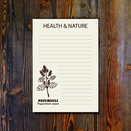 insect repellent: Health and Nature Collection. Banner template with a herb on wooden background. Patchouli  - Pogostemon cablin