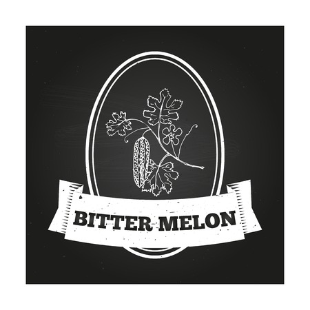 balsam: Health and Nature Collection. Badge template with a herb on chalkboard background. Bitter melon Illustration