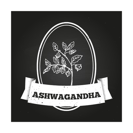winter cherry: Health and Nature Collection. Badge template with a herb on chalkboard background. Ashwagandha