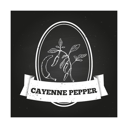 cayenne: Health and Nature Collection. Badge template with a herb on chalkboard background. Cayenne pepper