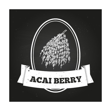 acai berry: Health and Nature Collection. Badge template with a herb on chalkboard background. Acai Berry Illustration