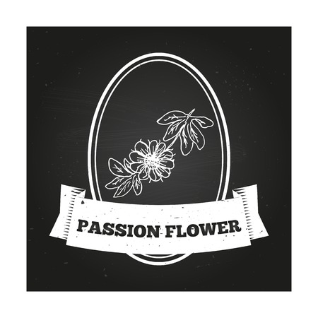 passion ecology: Health and Nature Collection. Badge template with a herb on chalkboard background. Passion Flower