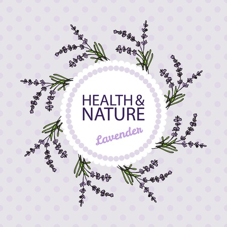 lavandula angustifolia: Health and Nature Collection. Badge template with a herb on spotted seamless background. Lavender -  Lavandula angustifolia Illustration
