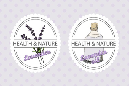 lavandula angustifolia: Health and Nature Collection. Badge templates with a herb and bottle with oil on spotted seamless background. Lavender -  Lavandula angustifolia Illustration