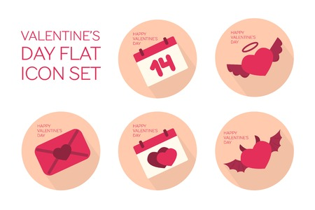 Valentines day flat icon set - calendar with a date, angel heart,  love letter, calendar with hearts, devil heart Vector
