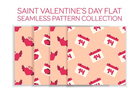 Valentine day flat pattern set - calendar with a date, angel heart, calendar with hearts, devil heart Vector