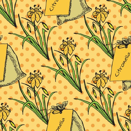 insect repellent: Health and Nature Collection. Seamless pattern with herbs and bags on spotted background.  Citronella - Cymbopogon citratus