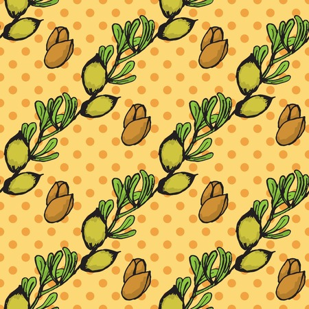wallpapper: Health and Nature Collection.  Seamless pattern with a herb on spotted background. Argan tree -Argania spinosa