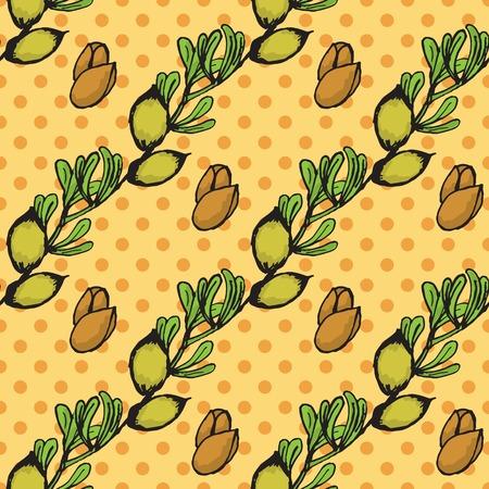 wallpapper: Salute e Natura Collection. Seamless pattern con un'erba su sfondo maculato. Argan -Argania spinosa
