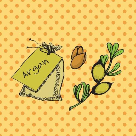 wallpapper: Salute e Natura Collection. Illustrazione con un'erba e borsa su sfondo maculato. Argan -Argania spinosa