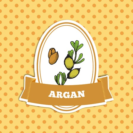 Health and Nature Collection.  Badge template with a herb on spotted seamless background. Argan tree -Argania spinosa Vector