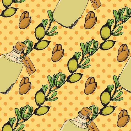 wallpapper: Salute e Natura Collection. Erbe e bottiglie con olio su spotted sfondo trasparente. Argan - Argania spinosa