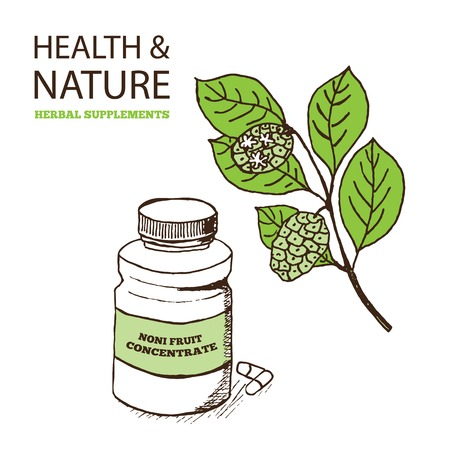 Health and Nature Supplements Collection. Noni Fruit Concentrate  - Morinda Citrifolia Vector