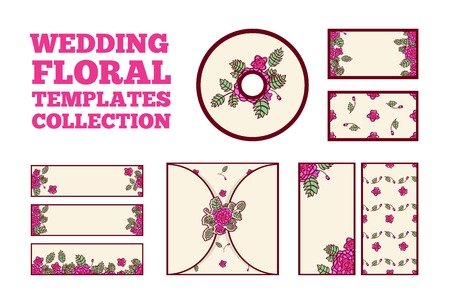 cd cover: Wedding floral template collection - invitation card, three horisontal banners, two vertical banners, cd cover, two cards