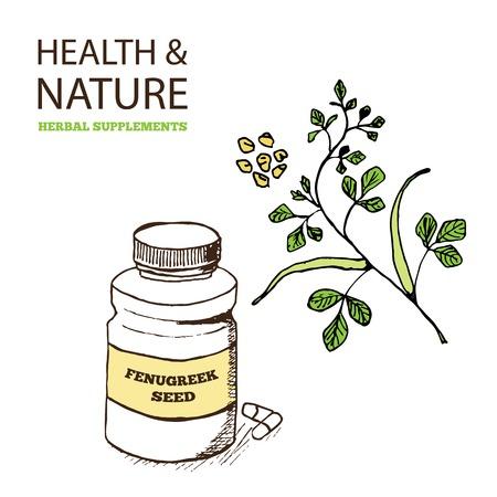 extract: Health and Nature Supplements Collection. Fenugreek  - Trigonella foenum-graecum