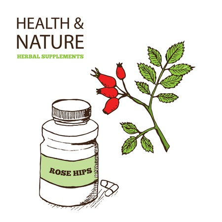 rose hips: Health and Nature Supplements Collection. Rose Hips - Rosa rugosa