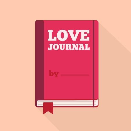 corsi di formazione: Appartamento Icona di stile con una lunga ombra. Un giornale amore. Concetto per di San Valentino, corsi di formazione, di auto-sviluppo e how-to articoli per donne