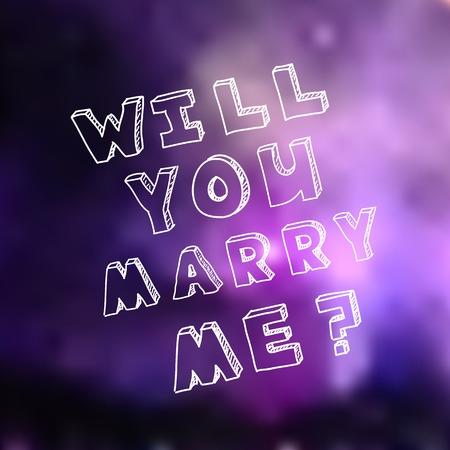 propuesta de matrimonio: Modelo del cartel para el dise�o de la propuesta de matrimonio. �Me alegre. Fondo p�rpura borrosa