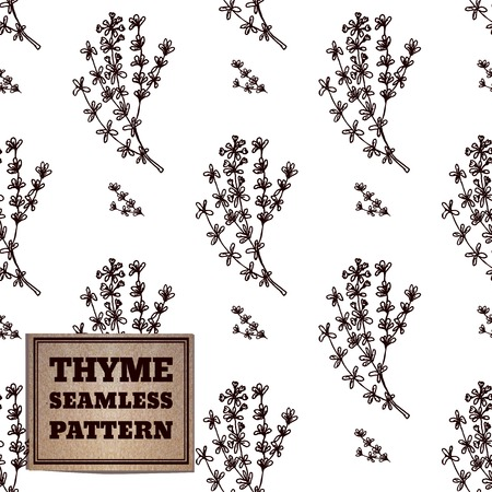 thymus: Health and Nature Supplements Collection. . Seamless pattern with a herb and cardboard card. Thyme - Thymus vulgaris