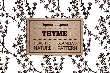 thyme: Health and Nature Supplements Collection. . Seamless pattern with a herb and cardboard card. Thyme - Thymus vulgaris