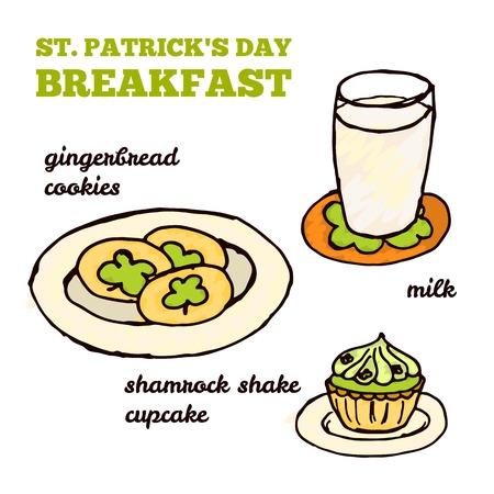 milk and cookies: Doodle Style Illustration. Saint Patricks Day Breakfast - Gingerbread Cookies, a Glass of Milk, Shamrock Shake Cupcake