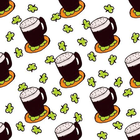 irish beer: Doodle Style Seamless Pattern for Saint Patricks Day. Irish dark beer