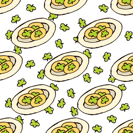 Doodle Style Seamless Pattern for Saint Patricks Day. Gingerbread Cookies Vector