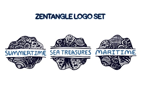 Detailed hand drawn zentangle logo set for yoga studio, ethnic shop, travel agency and other heartful businesses. Summertime, Sea Treasures, Maritime Vector
