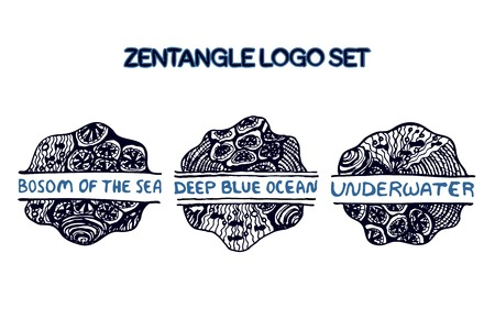 Detailed hand drawn zentangle logo set for yoga studio, ethnic shop, travel agency and other heartful businesses. Bosom of the see, Deep blue ocean, Underwater Vector