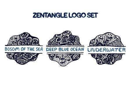 bosom: Mano detallada extrae logo conjunto zentangle para estudio de yoga, tienda �tnica, agencia de viajes y otros negocios heartful. Seno de la sede, Oc�ano azul profundo, Debajo del agua