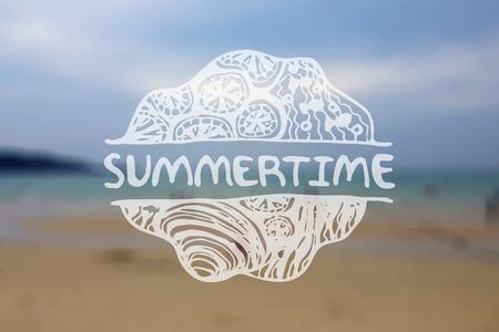 Detailed hand drawn zentangle emement on blurred backgroound. Summertime Vector