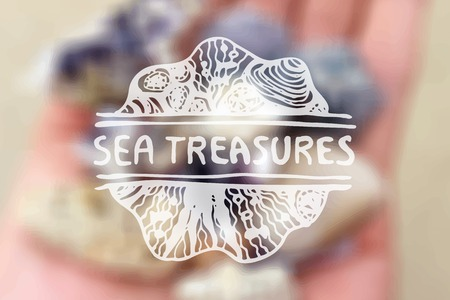 Detailed hand drawn zentangle emement on blurred backgroound. Sea treasures Vector