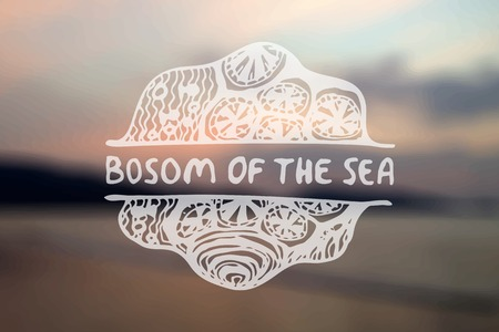 bosom: Mano detallada extrae emement zentangle en backgroound borrosa. Seno de la mar