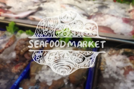 Detailed hand drawn zentangle element on blurred backgroound. Consept for seafood markets and restaurants. Suitable for ad, signboard, menu and corporate identity design Vector