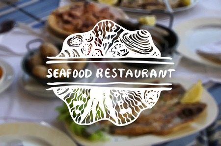 Detailed hand drawn zentangle element on blurred backgroound. Consept for seafood markets and restaurants. Suitable for ad, signboard, menu and corporate identity design