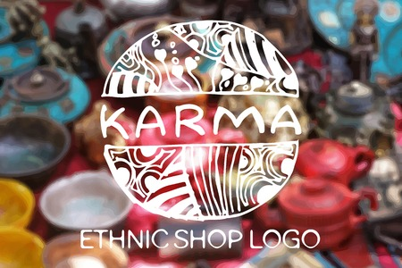 karma design: Detailed hand drawn zentangle logo on blurred background. Karma.  Consept for  ethnic shops, yoga studios, travel agencies and other heartful businesses. Suitable for ads, signboards, gift cards, price lists, menus, and brand identity designs