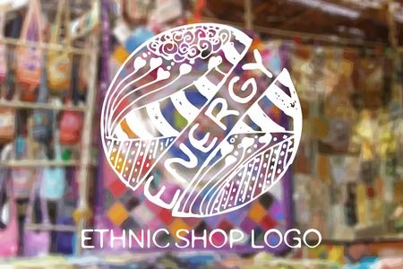 travel agencies: Detailed hand drawn zentangle  on blurred background. Energy.  Consept for  ethnic shops, yoga studios, travel agencies and other heartful businesses. Suitable for ads, signboards, gift cards, price lists, menus, and brand identity designs