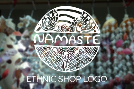 namaste: Detailed hand drawn zentangle  on blurred background. Namaste.  Consept for  ethnic shops, yoga studios, travel agencies and other heartful businesses. Suitable for ads, signboards, gift cards, price lists, menus, and brand identity designs