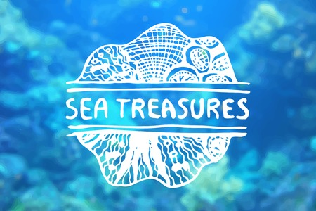 travel agencies: Detailed hand drawn zentangle element on blurred background. Sea treasures. Consept for sea life aquariums, marine centers, diving centers, ethnic shops, travel agencies, souvenir shops, accessories shops, seafood markets and restaurants.  Suitable for ad