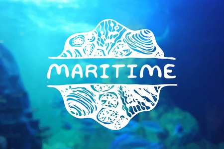 Detailed hand drawn zentangle element on blurred background. Maritime. Consept for sea life aquariums, marine centers, diving centers, ethnic shops, travel agencies, souvenir shops, accessories shops, seafood markets and restaurants.  Suitable for ads, si Illustration