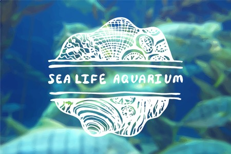 brand identity: Detailed hand drawn zentangle element on blurred background. Sea life aquarium. Consept for sea life aquariums, marine centers, travel agencies.  Suitable for ads, signboards, gift cards, price lists, menus, and brand identity design
