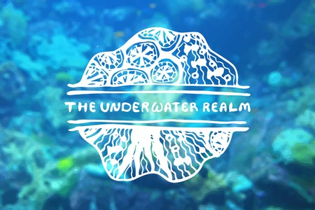 travel agencies: Detailed hand drawn zentangle element on blurred background. The underwater realm. Consept for sea life aquariums, marine centers, diving centers, ethnic shops, travel agencies, souvenir shops, accessories shops, seafood markets and restaurants.  Suitable