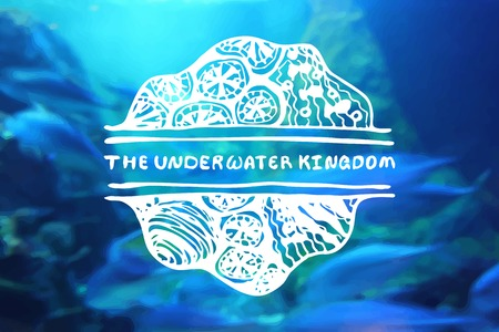travel agencies: Detailed hand drawn zentangle element on blurred background. The underwater kingdom . Consept for sea life aquariums, marine centers, diving centers, ethnic shops, travel agencies, souvenir shops, accessories shops, seafood markets and restaurants.  Suita