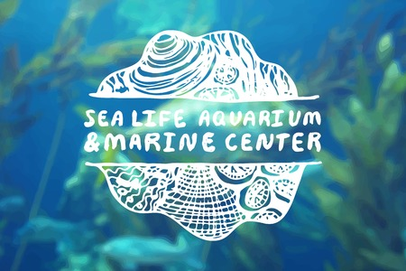 travel agencies: Detailed hand drawn zentangle element on blurred background. Sea life aquarium and marine center. Consept for sea life aquariums, marine centers, diving centers, ethnic shops, travel agencies, souvenir shops.  Suitable for ads, signboards, gift cards, pri