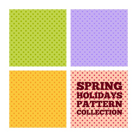 irish woman: Collection of seamless patterns for spring holidays - St. Patricks Day, April Fools Day, Easter, Mothers day Illustration