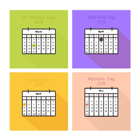 irish easter: Collection of color cards with calendars for spring holidays - St. Patricks Day, April Fools Day, Easter, Mothers day