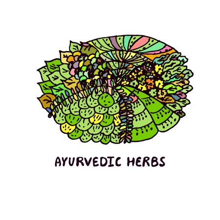 Zentangle element. Ayurvedic herbs. Suitable for ads, packaging, signboards, identity designs Vector