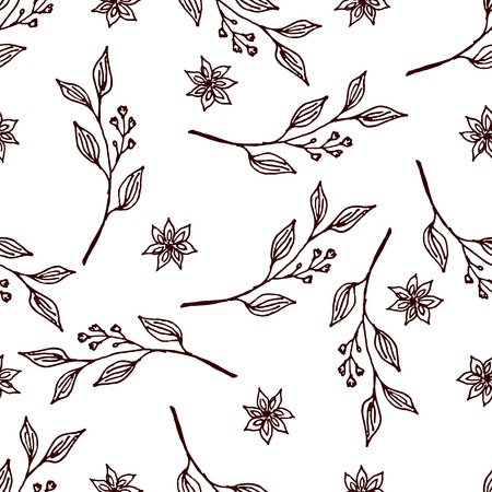 Herbs and Spices Collection - Cinnamon. Seamless pattern with handdrawn elements. Suitable for packaging and identity designs Vector