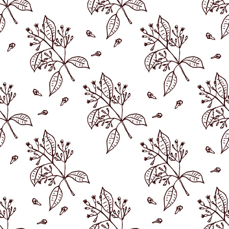 clove: Herbs and Spices Collection - Clove. Seamless pattern with handdrawn elements. Suitable for packaging and identity designs